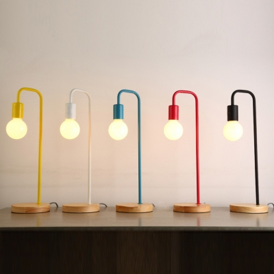 Curved Arm Standing Table Light Minimalist Macaron Living Room Metallic 1 Bulb Desk Lighting