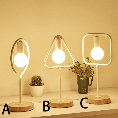 Question Mark/Triangle/Rectangle Bracket White Mini Table Lamp with Wood Base ( 1-Light)
