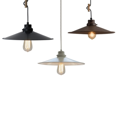 """13.4""""W Shallow Round Edged Shade 1-Bulb Hanging Pendant in White/Antique Forged Iron/Old Bronze Finish, HL478851, White;bronze;rust"""