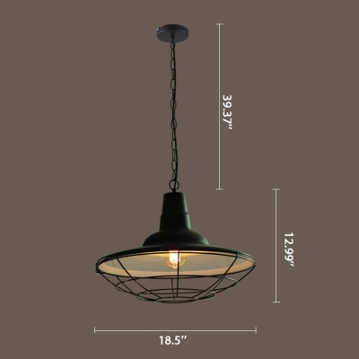 Vintage Style Shallow Round Shade Metal Cage Single Pendant Light in Satin Black Finish