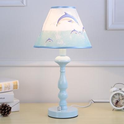 Sky Blue Tapered Table Light Nautical Plastic 1 Light