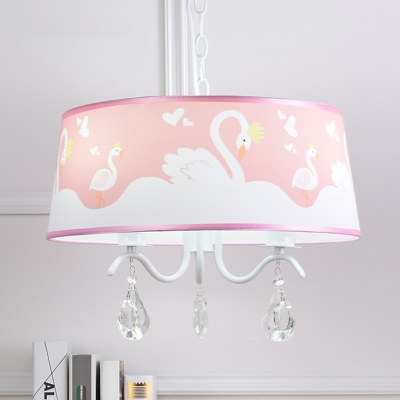 3/5 Lights Drum Chandelier Light with Swan Pattern Girls Room Crystal Suspended Light in White