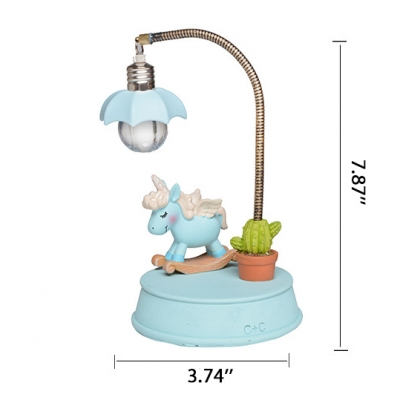 Decorative Unicorn Resin LED Girls Bedroom Night Light in Blue/Pink 2 Style for Option