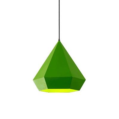 Metallic Diamond Pendant Lamp Nordic Style Bedroom 1 Light Suspension Light for Children