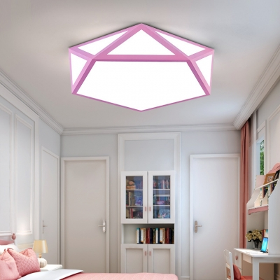 Children Youth Pentagon Flush Light Modernism Colorful Acrylic LED Flush Ceiling Light
