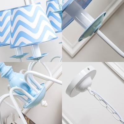 Nautical Zig Zag Ceiling Chandelier Children Fabric 3/5 Lights Suspension Light in Light Blue