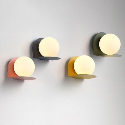 Milky Glass Orb Wall Light Sconce Colorful Nordic Hallway