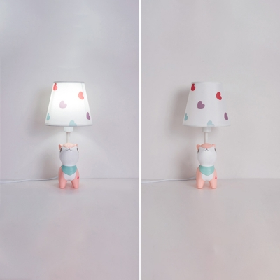 Nursing Room Cone Table Light with Bunny/Deer Plastic Single Light Reading Light in White