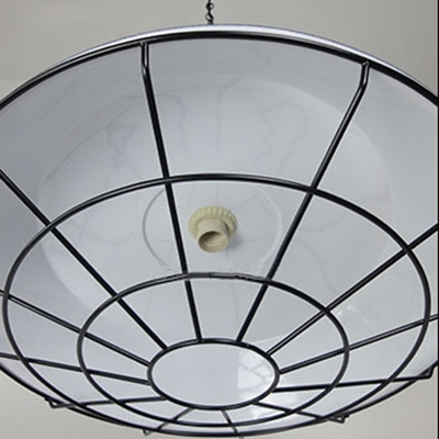 Metal Caged Polished Black Finish Restaurant Hanging Fixture 10.2