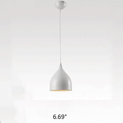 Modern Pendant Light with Teardrop Aluminum Shade, Black/White/Red