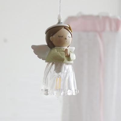 Nordic Kid's Bedroom Lighting Angle Pendant Light with Glass Shade, LED