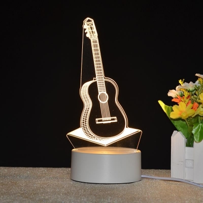 Rechargeable Acrylic Guitar/Sailing Boat 3D Night Light 3 Styles for Option