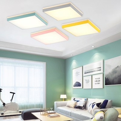 Metallic Ultra Thin Flush Mount Colorful Simple Sitting Room Led Ceiling Light In Warm