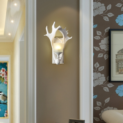 1 Light Antler White Wall Sconce with Frosted Glass Shade