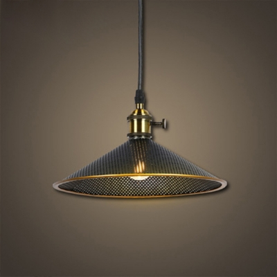 """Image of """"10.2"""""""" Wide Vintage Style Restaurant Cafe Pendant Light with Conical Wire Mesh Shade"""""""
