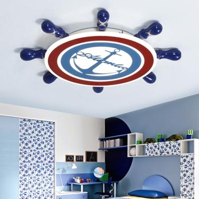 Acrylic Ship Wheel Flush Ceiling Light Boys Room Flush Mount LED Light in Navy Blue