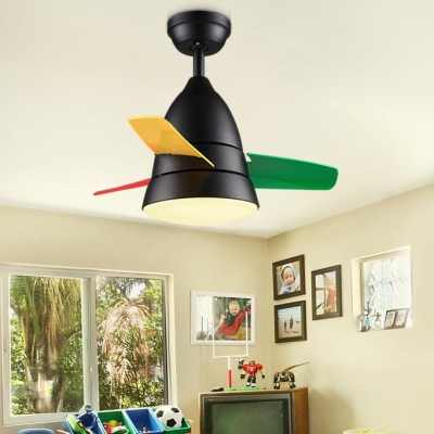 3 Colorful Blade Unique Kids Ceiling Fan in Satin Black/Silver 14.18'' W