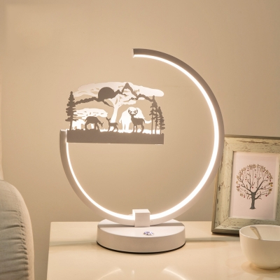 Animals Kids Room White Accent Table Lamp