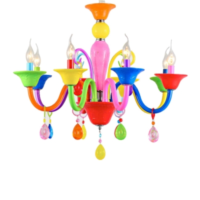 Art Deco Chandelier Kid Chandelier Colorful Indoor Chandelier Candle with Crystal Balls