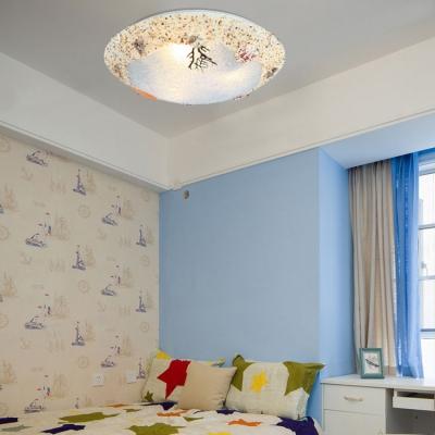 Seashell 3 Light Flush Ceiling Light Mediterranean Children Room Blue Glass Flushmount