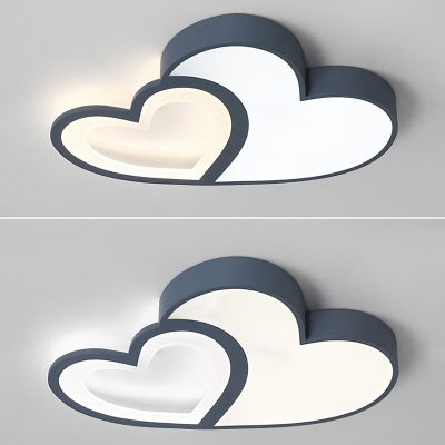 Girls Bedroom Loving Heart Ceiling Light Acrylic Decorative Ceiling Flush Mount in Blue/Pink
