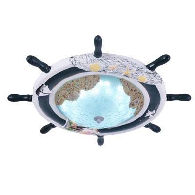 Glass LED Flush Ceiling Light with Round Rudder Blue Ceiling Fixture for Children Room