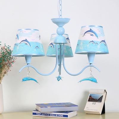 Fabric Dolphin Hanging Chandelier Boys Bedroom 3 6 Lights Ceiling Chandelier In Sky Blue Beautifulhalo Com
