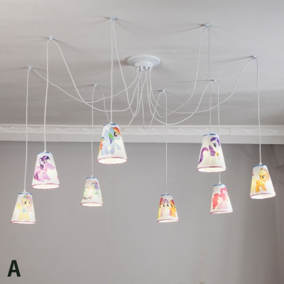 8 Lights Cartoon Swag Pendant Lighting Animals&Insects Nursing Lighting with Fabric Shade in White