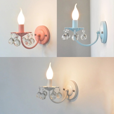 Modern Crystal Wall Light Staircase Wall Sconce Candle Style Wall Lamp With  Crystal Balls ...