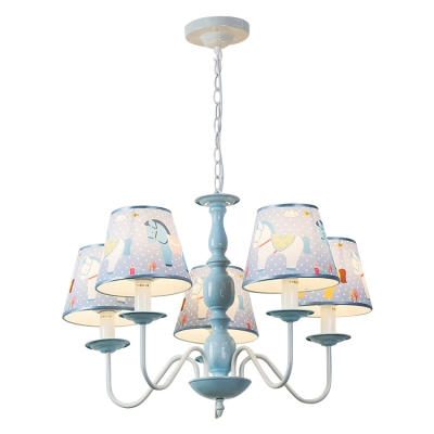 Sky Blue Tapered Suspended Light with Cartoon Horse Design Fabric 5 Bulbs Chandelier Lamp for Boys Girls Room