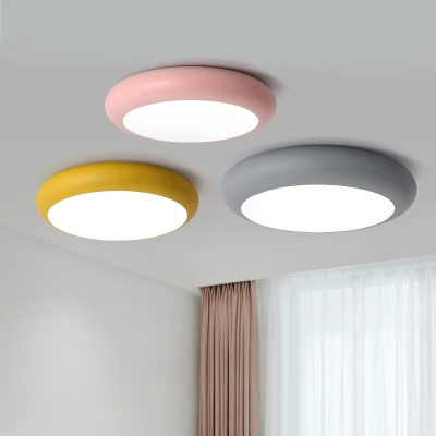 Metal Round Flush Light Fixture Macaron Nordic Colorful Kids Children Room Led Mount