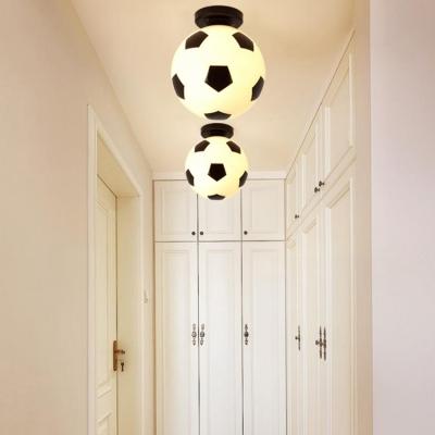 Sport Theme Football Flushmount Corridor Boys Room Plastic Single Light Ceiling Light in Black