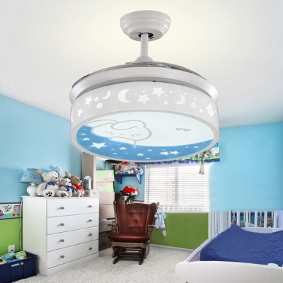 White Moon and Star Retractable Kids Room Ceiling Fan with Lovely Rabbit