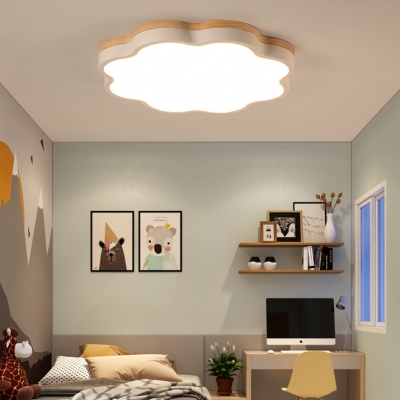 Flower Shape LED Flush Light Green/Yellow/White Acrylic Ceiling Lamp for Aisle Bedroom