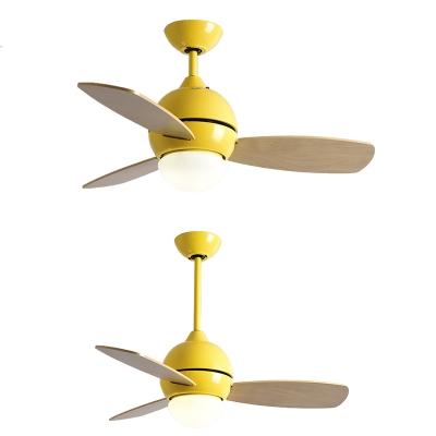 3 Wood Blade 14.18'' W Macaroon Style Chandelier Ceiling Fan for Kids in Lovely Pink/Green/Yellow