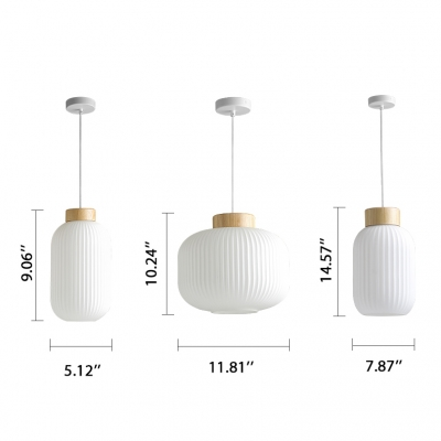 Canning Jar Shape Mini Pendant Lighting with White Ribbed Glass Shade 5.5