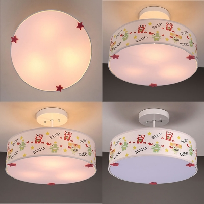 Drum Shade Ceiling Light with Safari Design Baby Kids Room Fabric Triple Lights Semi Flush Light in White