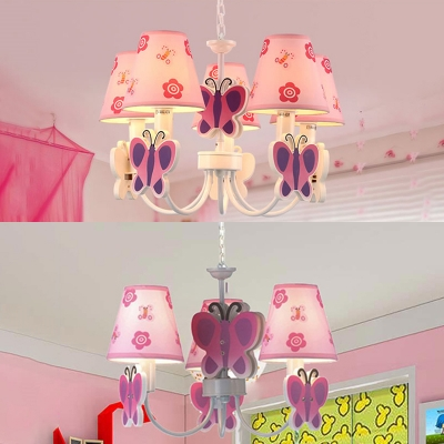 Cute Butterfly 3/5 Lights Suspended Lamp Pink Fabric Shade Chandelier Light for Girls Room