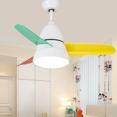 Colorful Blade Children Ceiling Fan with Light Globe 14.18\'\' Wide