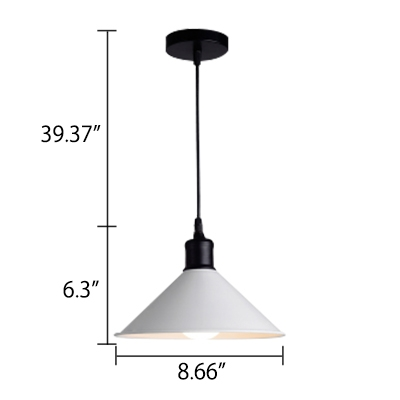 Contemporary Simple Style One Bulb Pendant Lamp in White Finish 8.66