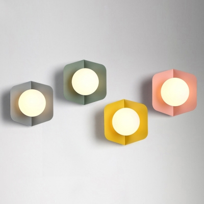 1 Light Ball Shade Wall Mount Fixture Contemporary Macaron Metal Wall Lamp For Kids Room Beautifulhalo Com