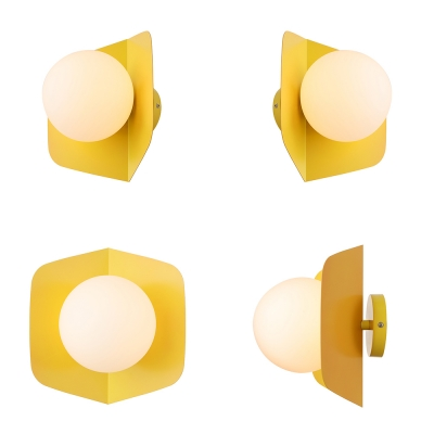 1 Light Ball Shade Wall Mount Fixture Contemporary Macaron Metal Wall Lamp for Kids Room