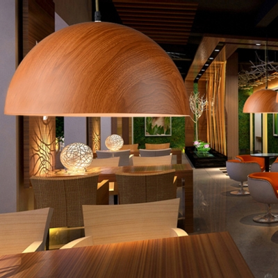 Modern Style Wood Dome Shade Single Light Pendant Lamp for Living Room Dining Room in Wooden-Grain/Deep Wooden-Grain