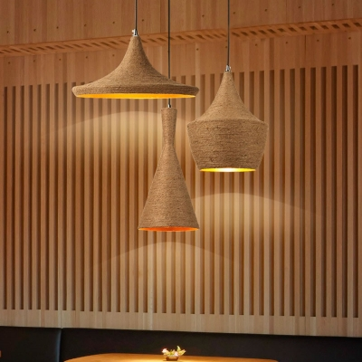 Rustic Style One Bulb Natural Burlap Shade Hanging Light Fixture for Cafe and Restaurant