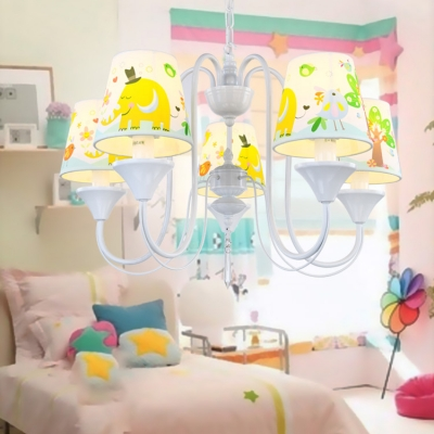 Fabric Shaded Lighting Fixture with Animal Pattern Children Room 5 Lights Suspended Lamp in White Finish