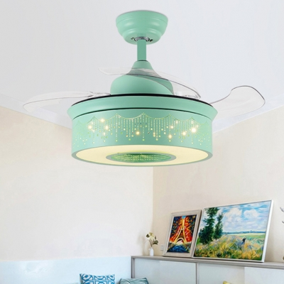 14.18 Inch Creative Fancy Reversible Ceiling Fan for Kids in Green/Pink/Blue with Sparking Star