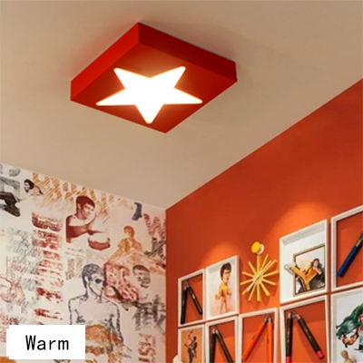 Blue/Red Square Ceiling Light With Star Plastic Decorative LED Flush Mount Light for Game Room
