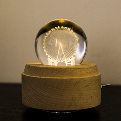 Chargeable Ferris Wheel/Anlter/Dandelion/Four-Leaf Clover Crystal Night Lamp with Wood Base