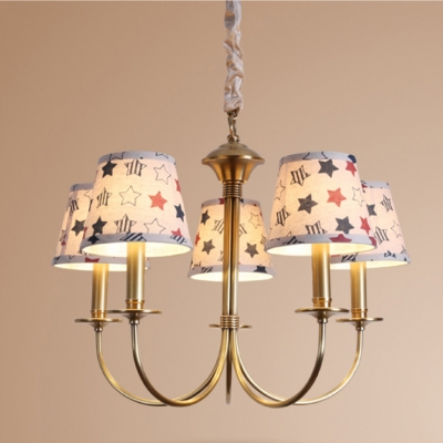 Brass Finish Shaded Suspension Light Rustic Style Fabric 5 Lights Chandelier Ceiling Light