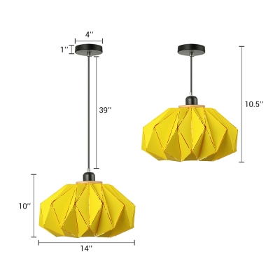 1 Light Origami Suspended Lamp Colorful Contemporary Living Room Metal Lighting Fixture